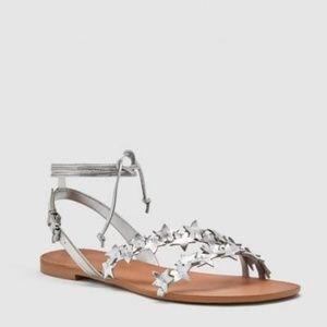 Zara Silver Star Leather Ankle Wrap Gladiator